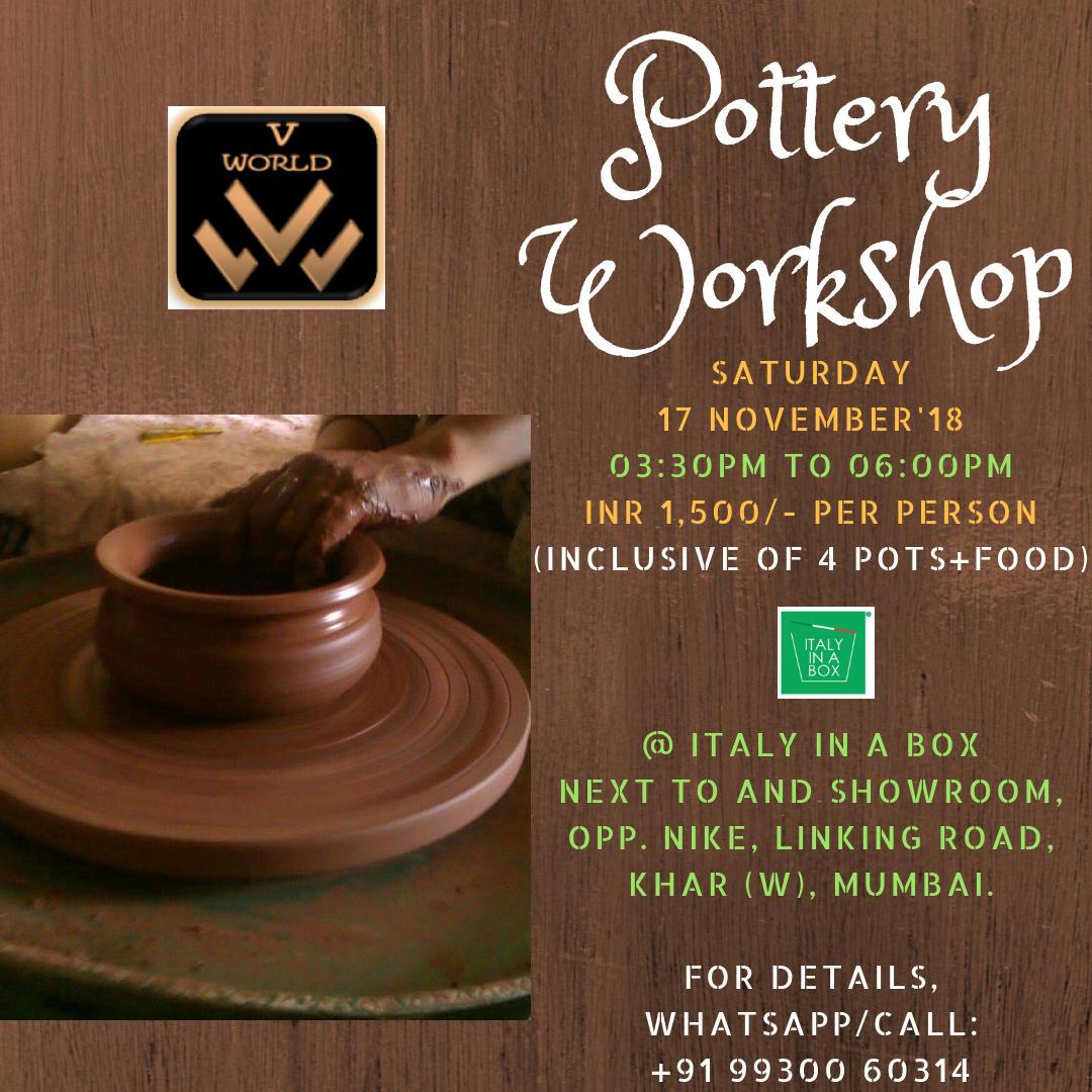 Wheel & Hand Pottery Workshop in Khar West, Mumbai on 17-Nov
